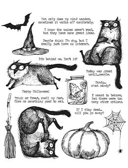 Tim Holtz Cling Mount Stamp Snarky Cat Halloween Stampers Anonymous Tim Holtz Other