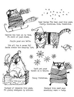 Tim Holtz Cling Mount Stamp Snarky Cat Christmas Stampers Anonymous Tim Holtz Other