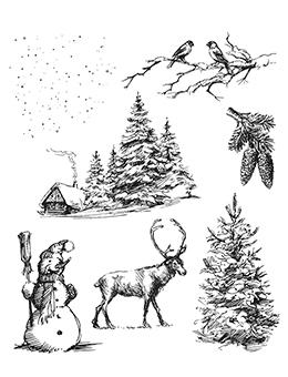 Tim Holtz Cling Mount Stamp Winter Scape Stampers Anonymous Tim Holtz Other