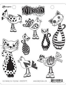 Dylusions Cling Mount Stamps Cat Among the Pigeons