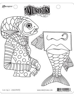 Dylusions Cling Mount Stamps Fish Face
