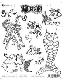 Dylusions Cling Mount Stamps Plenty More Fish in the Sea Stamps Dylusions