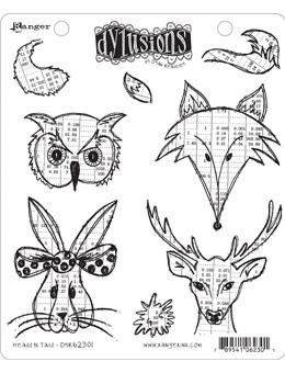 NEW! Dylusions Cling Mount Stamps Heads N Tails