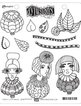 NEW! Dylusions Cling Mount Stamps Three Little Maids