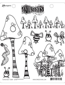 NEW! Dylusions Cling Mount Stamps Toadstool Town