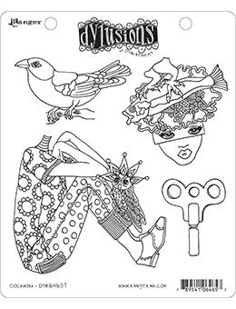 NEW! Dylusions Cling Mount Stamps Clockwork