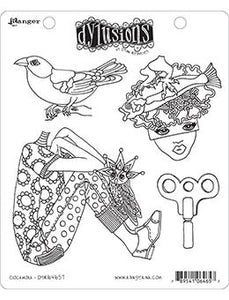 Dylusions Cling Mount Stamps Clockwork