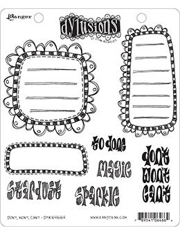 Dylusions Cling Mount Stamps Don't, Won't, Can't