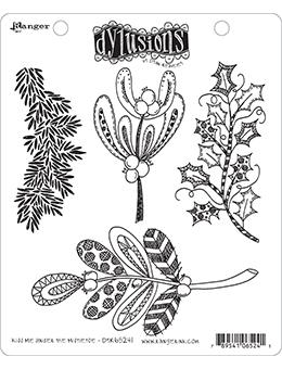 Dylusions Cling Mount Stamps Kiss Me Under the Mistletoe Stamps Dylusions