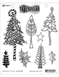 Dylusions Cling Mount Stamps Wood For the Trees