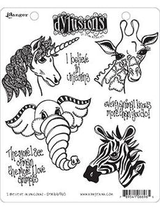 Dylusions Cling Mount Stamps I Believe In Unicorns Stamps Dylusions