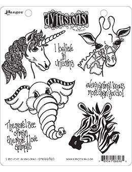 NEW! Dylusions Cling Mount Stamps I Believe In Unicorns