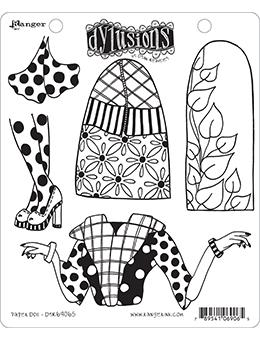 Dylusions Cling Mount Stamps Paper Doll Stamps Dylusions