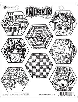 Dylusions Cling Mount Stamps A Heck of Hexies Stamps Dylusions