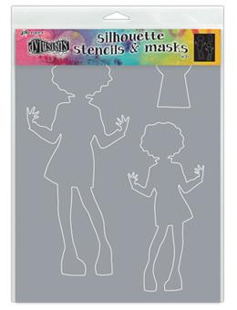 NEW! Dylusions Stencils Silhouettes Masie