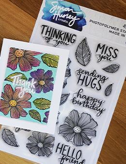 Simon Hurley create. Photopolymer Stamp Sentimental Flowers Stamps Simon Hurley