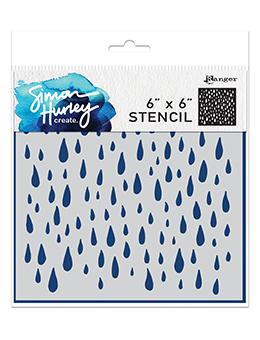 NEW! Simon Hurley create. Stencil 6x6 Looks Like Rain