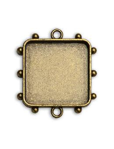 Hobnail Square Antique Brass Medium Bezel, 1 pc. Bezels & Charms ICE Resin®