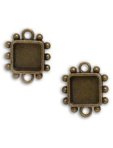 Hobnail Square Antique Brass Small Bezels, 2 pcs. Bezels & Charms ICE Resin®