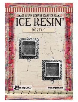 ICE Resin® Milan Bezels: Antique Silver Small Square, 2pcs.