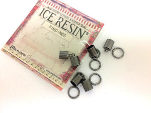 ICE Resin® Findings 6mm End Caps & Jump Rings: Antique Silver Findings ICE Resin®