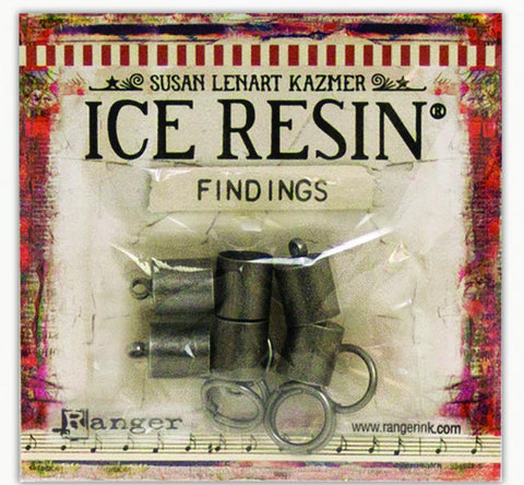 ICE Resin® Findings 8mm End Caps & Jump Rings: Antique Silver Findings ICE Resin®