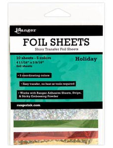 Ranger Shiny Transfer Foil Sheets Holiday, 10pc Foil Sheets Ranger Brand