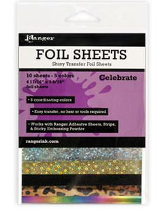 Ranger Shiny Transfer Foil Sheets Celebrate, 10pc Foil Sheets Ranger Brand