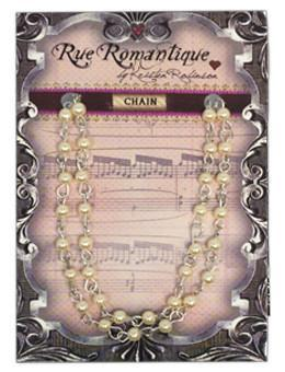 "Rue Romantique Finished Chain- 4mm Cream Pearl 18"" Bezels & Charms ICE Resin®"