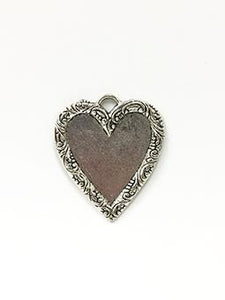 Rue Romantique Heart Antique Silver Closed Bezel, 1 pc. Bezels & Charms ICE Resin®