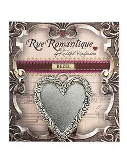 Rue Romantique Heart Antique Silver Closed Bezel, 1 pc.