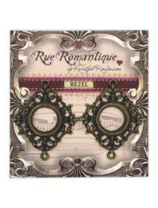 Rue Romantique Small Diamond Filigree Brass Open Bezel, 2 pc.
