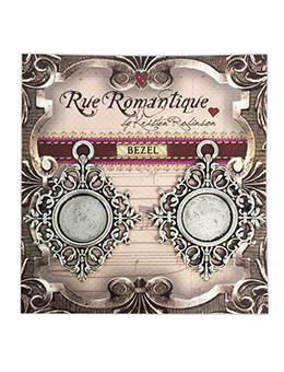 Rue Romantique Small Diamond Filigree Silver Closed Bezel, 2 pc. Bezels & Charms ICE Resin®