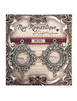Rue Romantique Small Diamond Filigree Silver Open Bezel, 2 pc. Bezels & Charms ICE Resin®