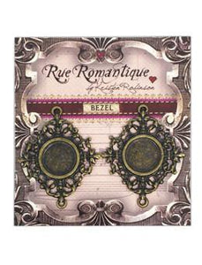 Rue Romantique Small Diamond Filigree Brass Closed Bezel, 2 pc.