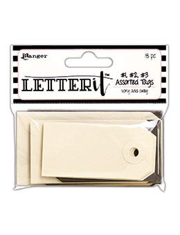 Letter It™ Ivory & Grey Assorted Tags, 18pc