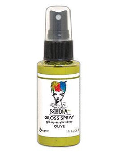 Dina Wakley MEdia Gloss Spray Olive, 2oz Sprays Dina Wakley Media