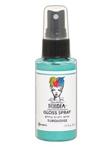 Dina Wakley MEdia Gloss Spray Turquoise, 2oz Sprays Dina Wakley Media