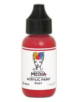 Dina Wakley Media Acrylic Paint Ruby, 1oz Paint Dina Wakley Media