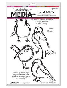 Dina Wakley Media Stamps Scribbly Birds Stamps Dina Wakley Media