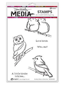 Dina Wakley Media Stamps Scribbly Birds on Branches