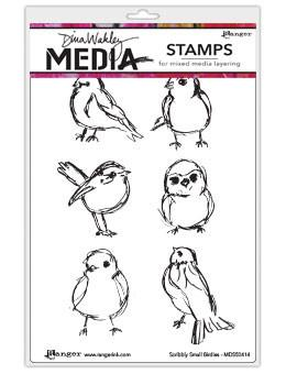 Dina Wakley Media Stamps Scribbly Small Birds