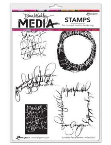 Dina Wakley Media Stamps Scribbled Text Elements Stamps Dina Wakley Media
