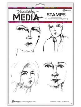 Dina Wakley Media Stamps Sketched Faces Stamps Dina Wakley Media
