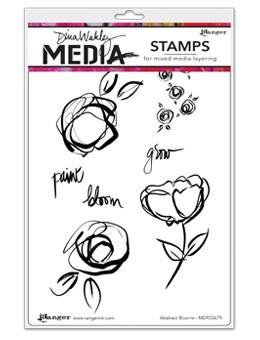 Dina Wakley Media Stamps Abstract Blooms Stamps Dina Wakley Media