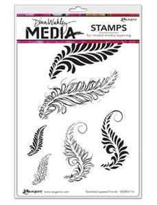 Dina Wakley Media Stamps Sketched Layered Fronds Stamps Dina Wakley Media