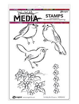 Dina Wakley Media Stamps Scribble Bird Cousins