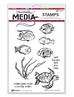NEW! Dina Wakley Media Stamps Scribbly Fishies