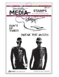 Dina Wakley Media Stamp Scribbled Silhouettes Stamps Dina Wakley Media