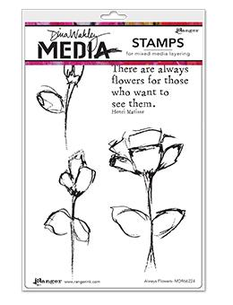 Dina Wakley Media Stamp Always Flowers Stamps Dina Wakley Media